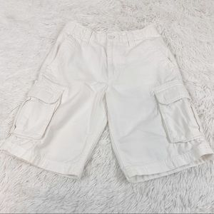 First Wave boy's cargo pockets chino shorts white